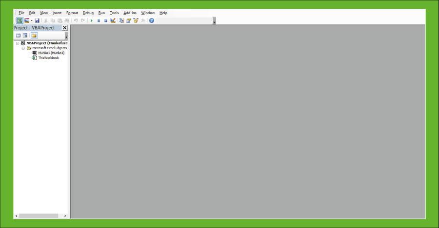 Visual Basic felület - Excel
