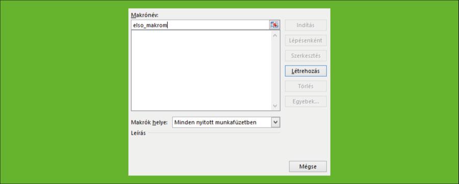 Excel Makró ablak