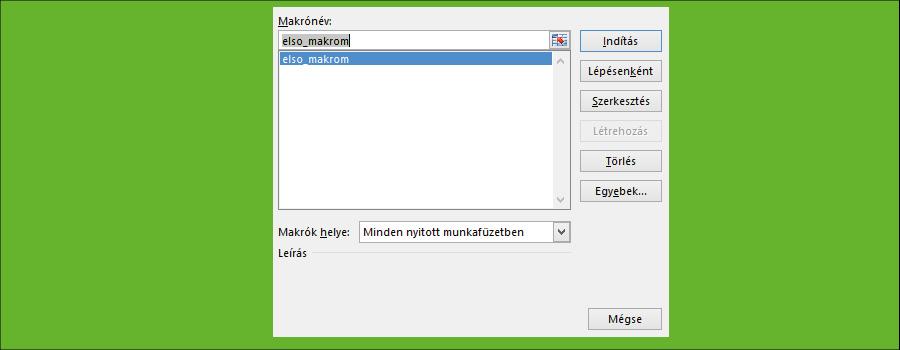 Makró indítása Excel VBA