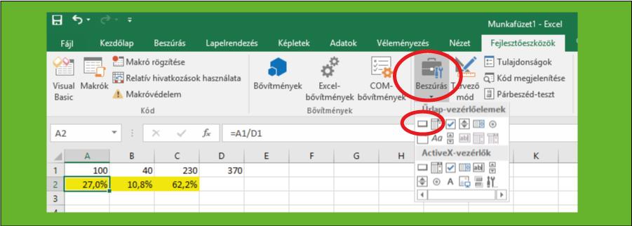 Gomb beszúrása Excel makró